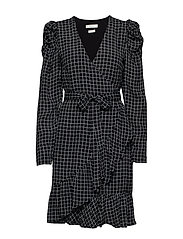 DeniceGZ wrap dress MA19 - BLACK/WHITE CHECK