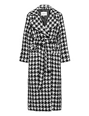 UnnaGZ OZ coat SO21 - BLACK/WHITE HOUNDTOOTH