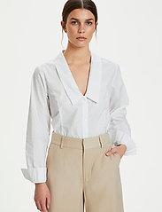 Gestuz - JilanGZ V-collar shirt MS21 - langærmede skjorter - bright white - 6