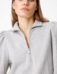 Gestuz - NankitaGZ ss zipper sweatshirt - sweatshirts & hoodies - light grey melange - 4