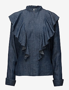 Cyndie blouse SO18 - long sleeved blouses - denim blue