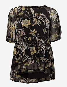 Maui ss top MS18 - short-sleeved blouses - black palm