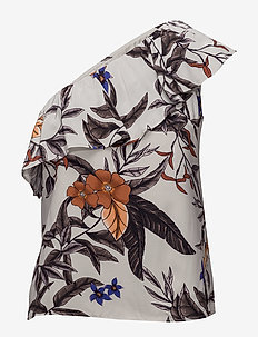 Greye one shoulder HS18 - Ærmeløse bluser - grey flower print
