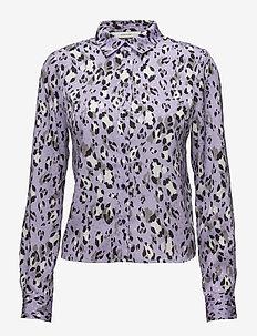 Leopa shirt MA18 - long sleeved blouses - purple leopard