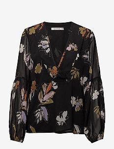 Amali blouse MA18 - long sleeved blouses - black flower print