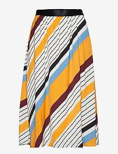 DianonaGZ skirt AO19 - midi skirts - diagonal yellow stripe