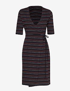 TerriGZ wrap dress AO19 - BLACK W. STRIPES
