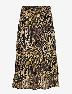 TasnimGZ skirt MA19 - midi - stripe yellow snake