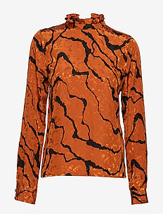 AylinGZ blouse MA19 - long sleeved blouses - umber ripple