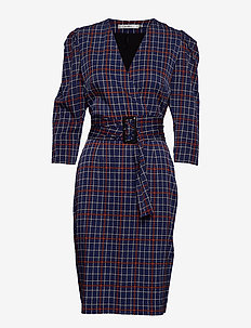 ElanaGZ dress MA19 - BLUE/UMBER CHECK