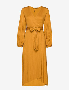 JustaGZ wrap dress YE19 - BONE BROWN