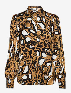 LoriGZ shirt SO20 - long sleeved blouses - brown leo
