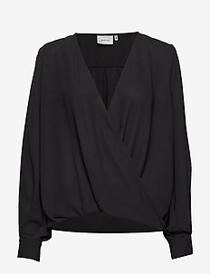 CeniaGZ wrap blouse SO20 - langærmede bluser - black