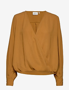 CeniaGZ wrap blouse SO20 - bluzki z długimi rękawami - bone brown