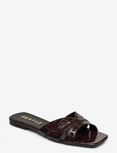 AshleyGZ sandal HS20 - flade sandaler - dark brown croco