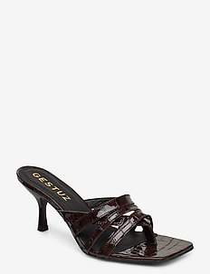 AshleyGZ heeled sandal HS20 - korolliset sandaalit - dark brown croco