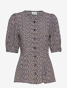 DevaGZ blouse HS20 - blouses med korte mouwen - small flower black