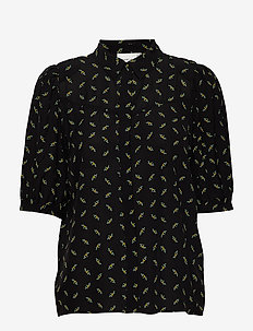 BelinaGZ shirt AO20 - short-sleeved blouses - black flower pattern