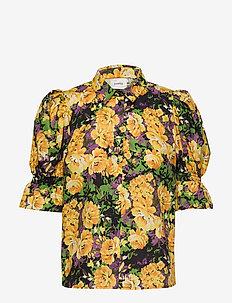 CassiaGZ AOP shirt AO20 - short-sleeved blouses - yellow flower garden