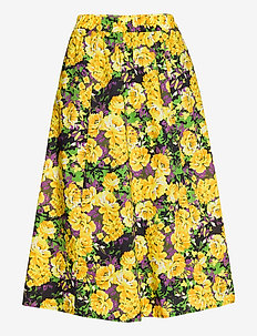 CassiaGZ AOP skirt AO20 - midinederdele - yellow flower garden