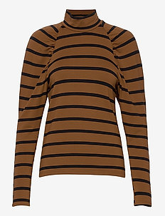 RifellaGZ stripe turtleneck MA20 - långärmade toppar - black brown stripe