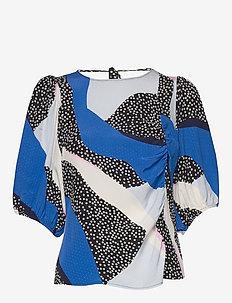 GlowieGZ blouse ZE2 20 - kortermede bluser - blue pink colorblock