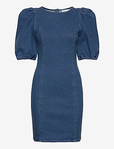 AstridGZ roundneck dress ZE2 20 - denim dresses - denim blue