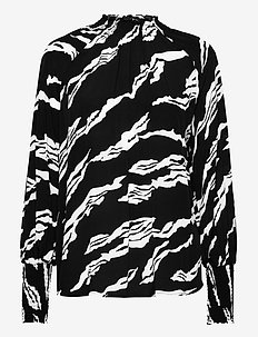 ZohaGZ blouse MS21 - langærmede bluser - black scratch