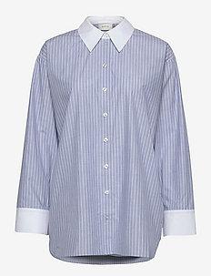 LesterGZ OZ shirt - denimskjorter - lightblue/white pinstribe