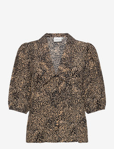 JodisGZ ss blouse - kortærmede bluser - sahara dust leo