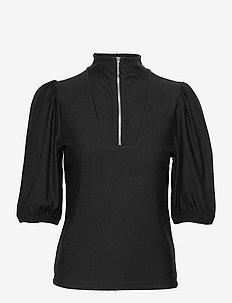 RifaGZ ss zipper tee - langærmede bluser - black