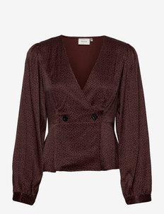 IlaGZ blouse - langermede bluser - cinnamon square dot