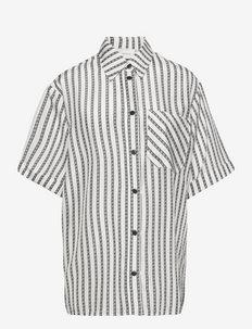 HalfaGZ ss shirt - overhemden met korte mouwen - white logo stripe