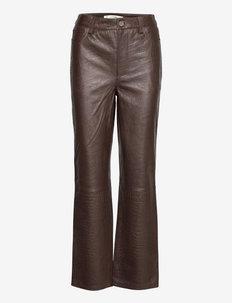 SallyGZ HW pants - lederhosen - croco coffee bean