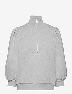 NankitaGZ ss zipper sweatshirt - sweatshirts & hættetrøjer - light grey melange