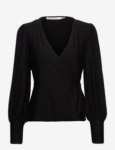 RifaGZ wrap blouse - långärmade blusar - black