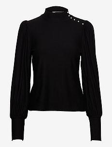 RifaGZ button blouse - långärmade blusar - black
