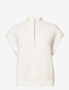 ViolineGZ zipper waistcoat - getrickte tops - egret
