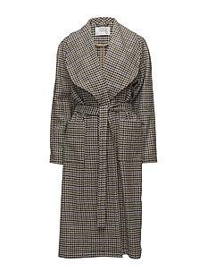 Welle check coat MA18 - OFF WHITE/COGNAC CHECK
