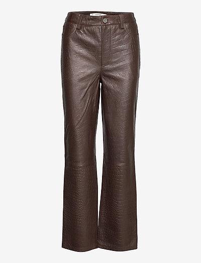 SallyGZ HW pants - leather trousers - croco coffee bean