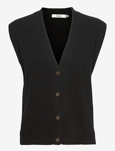 ThildaGZ wool waistcoat - strikveste - black