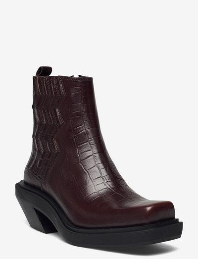 CamilleGZ boots - flade ankelstøvler - croco coffee bean