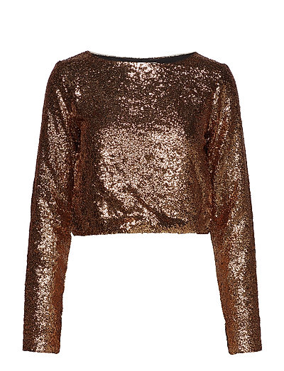 Tito cropped blouse YE18 - COPPER/BLACK