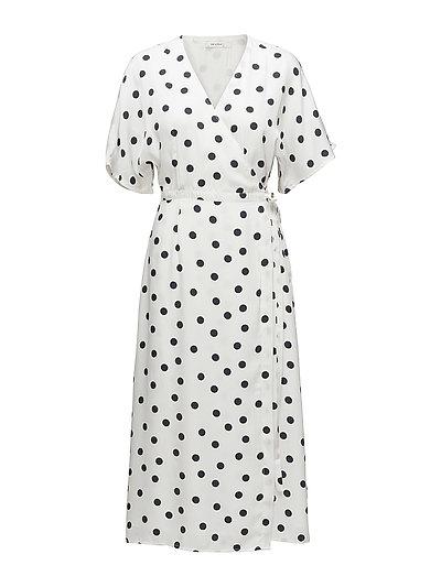 Elsie wrap dress ZE2 18 - WHITE NAVY DOT