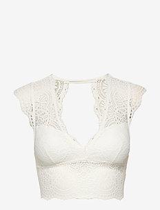 Lace Longline Cap-Sleeve Bralette - bralette & corset - white lace
