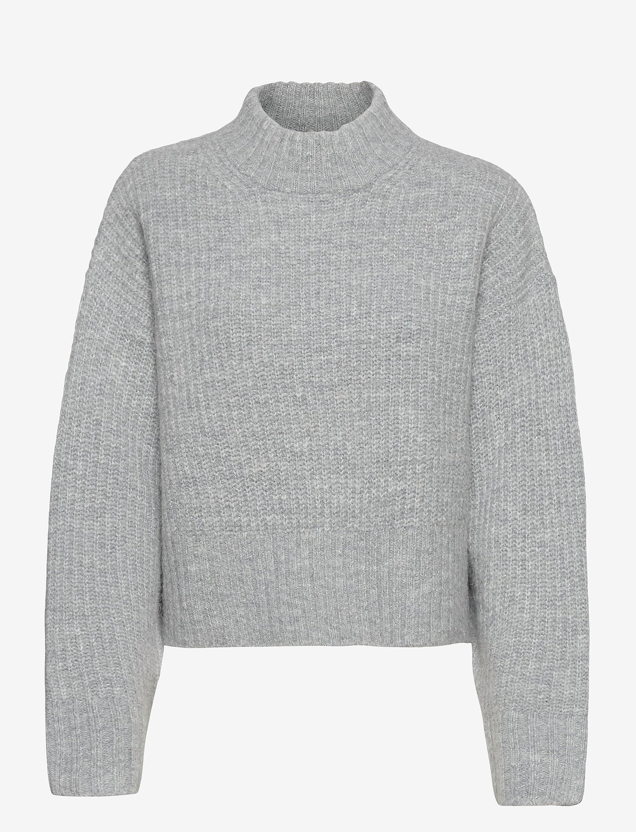 Gina Tricot - Kira knitted sweater - turtlenecks - grey melange (8181) - 0