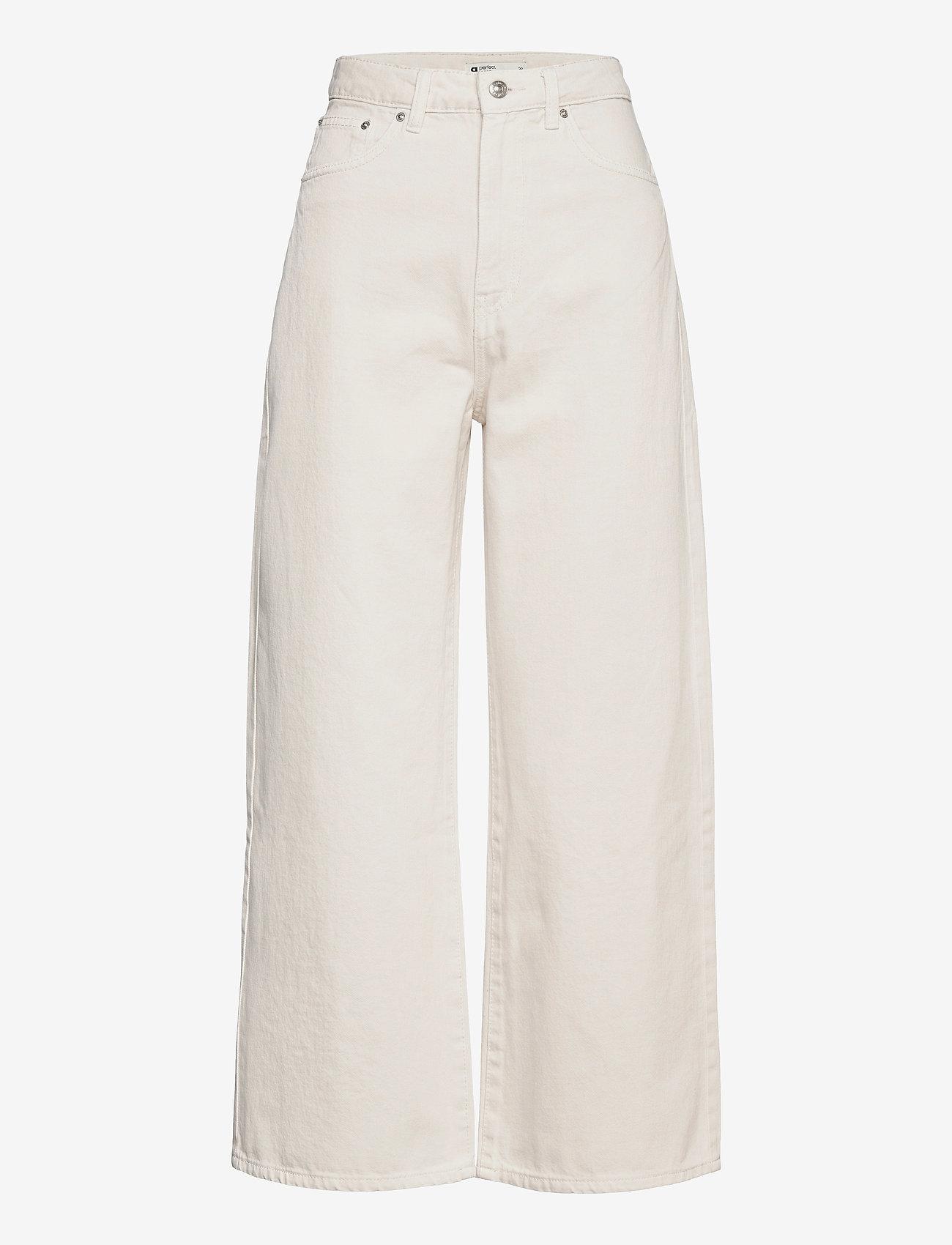 Gina Tricot - Idun crop wide jeans - bukser med brede ben - antique white (1066) - 0