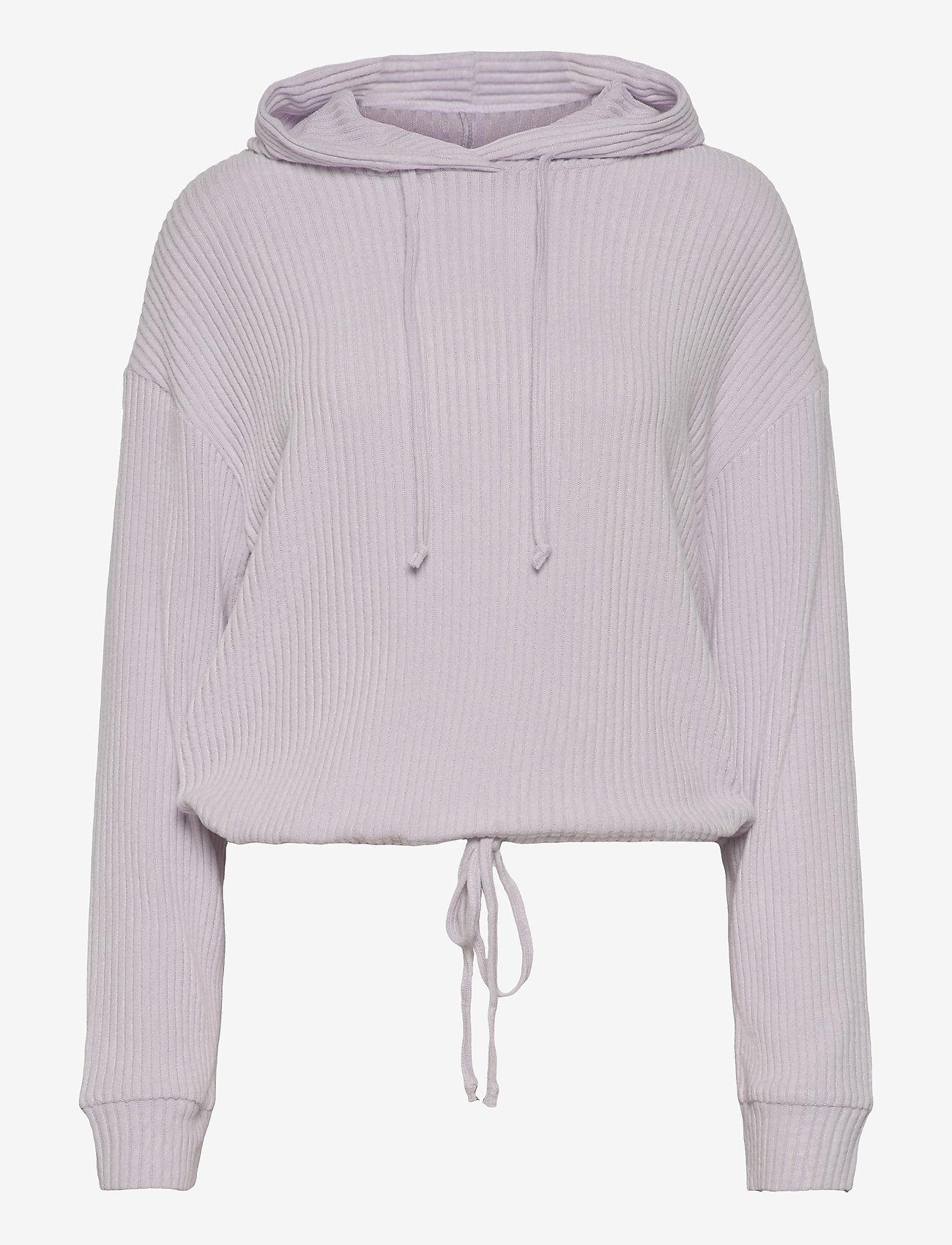 Gina Tricot - Stina rib hoodie - hættetrøjer - evening haze (4157) - 0