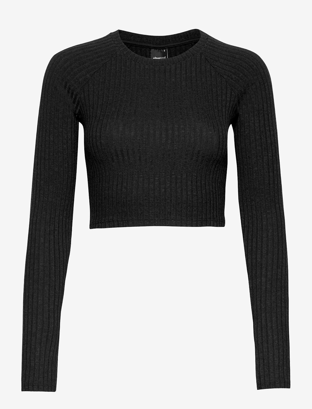 Gina Tricot - Kinsley rib top - navel shirts - black (9000) - 0