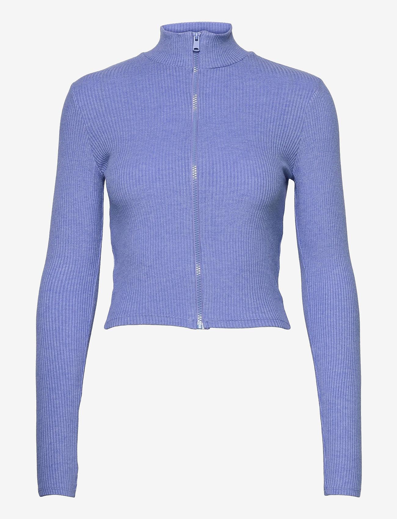 Gina Tricot - Eloise zip top - strikkede toppe - blue bonnet (5138) - 0